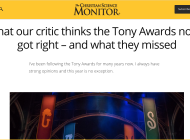 What our critic thinks the Tony Awards noms got right – and what they missed (Article in The Christian Science Monitor)